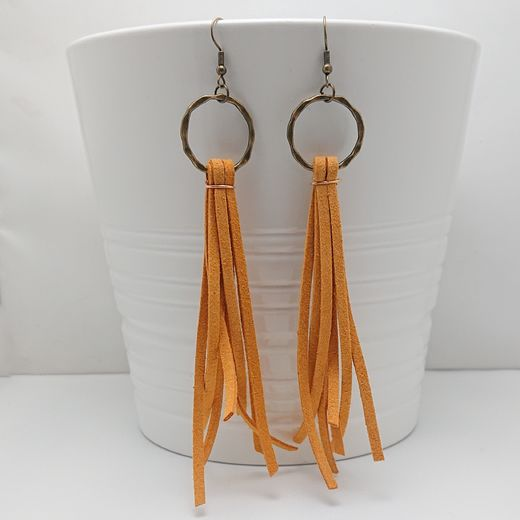 Suede Fringe Golden Yellow