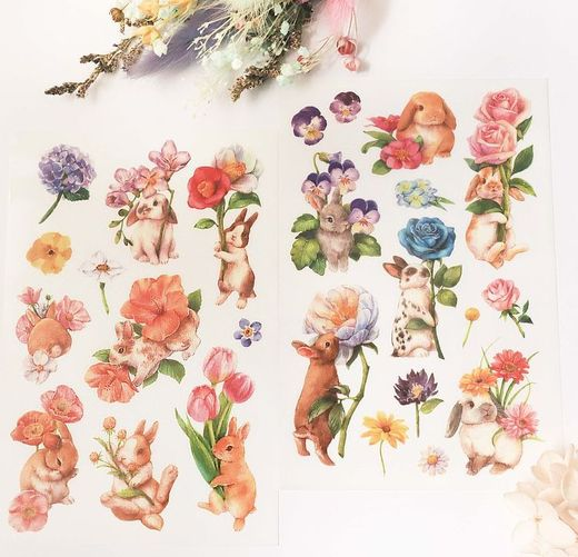 PREORDER: Maruco Art | Flower & Rabbit Transfer Stickers